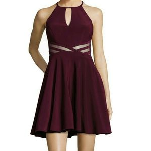 Xscape Fit and flare wine dress